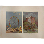 """Rare Antique Chromolithograph The World's Fair in Watercolors - """"Ferris Wheel"""" and """"Blarney Castle"""" by C. Graham"""