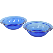 Hazel Atlas Moderntone 1930's Cobalt Blue Glass Serving Bowls ~ RARE; Mint