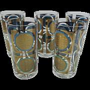 Mid Century Modern Highball Medallion Barware Glasses
