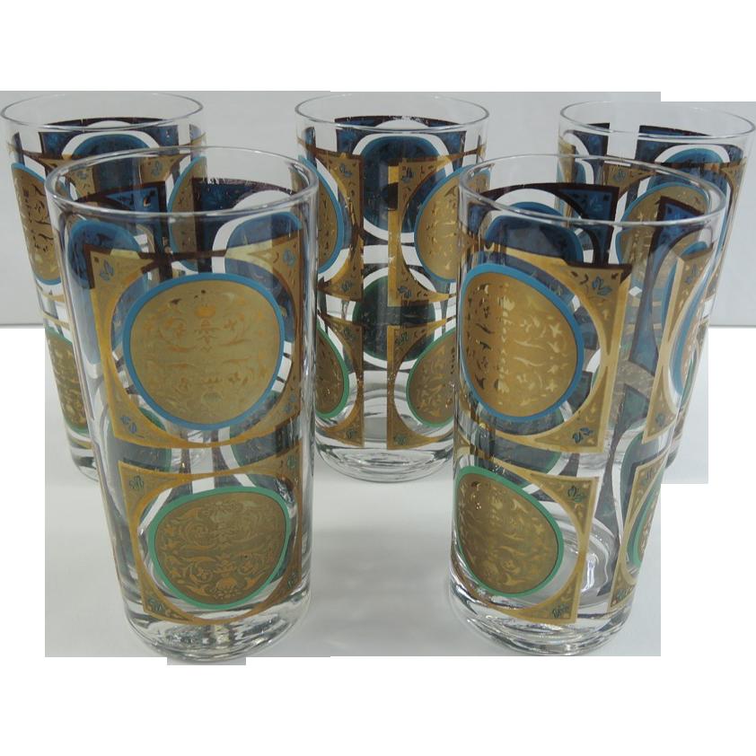 mid century modern highball medallion barware glasses sold