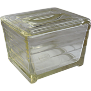 Glasbake Art Deco Yellow Glass Refrigerator Dish with Lid