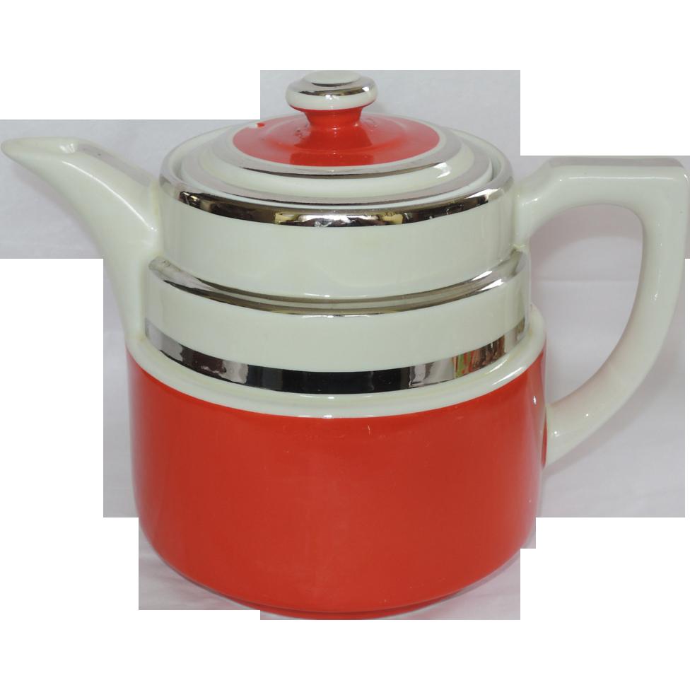 Hall China Drip O Lator Coffee Pot Red Cream Silver Sold