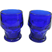 Hazel Atlas Georgian Cobalt Blue Glass Tumblers, Set of 2