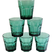 Libbey Duratuff Gibraltar 9 oz. Rocks Glasses ~ Juniper Green Set of 6