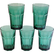 Libbey Duratuff Gibraltar 14 oz. Tumbler Glasses ~ Juniper Green Set of 5
