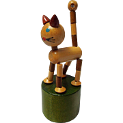All Wooden Tabby Cat Push Puppet