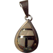 Vintage Sterling, Mother of Pearl and inlaid Onyx Pendant, Signed