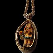 "Wonderful Vintage ""Hummel"", Little Girl with Heart  Necklace"