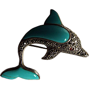 Vintage Sterling, Marcasite, Stabilized Turquoise, and Garnet Dolphin Brooch
