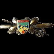 Vintage German Brooch with Enameled Center Medallion