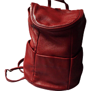 Red Leather Handbag, Backpack by Norm Thompson - Red Tag Sale Item