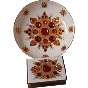 Unusual Mid Century Austrian Enameled and Jeweled Match Box and Ashtray