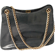 Vintage All Leather Navy Handbag, Made in France