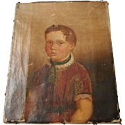 Primitive Antique Oil Portrait of Child