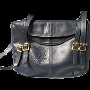 All Leather Vintage Navy Handbag for Bullocks