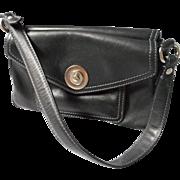 Vintage Black Leather Double Sided Handbag, Via Spiga