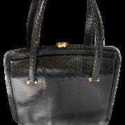 Vintage Black Snake Skin Handbag