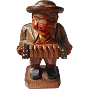 Hand Carve Accordion Player Figure