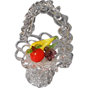 Vintage Blown Glass basket of fruit