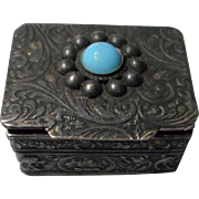 Vintage Art Nouveau Style Metal Box with Turquoise Cabochon, Italy