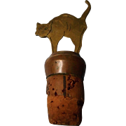 Vintage Bottle Cork with Brass Arching Cat