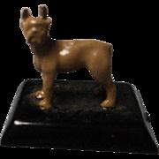 Vintage Metal Enamel Terrier on Metal Stand