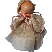 Vintage All Bisque Baby Doll in Original Gown, Germany