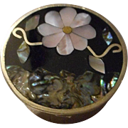 Silver Tone Inlaid Mother of Pearl Pill Box