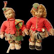 Vintage Hand Painted Cloth Dolls in Original Felt Costumes