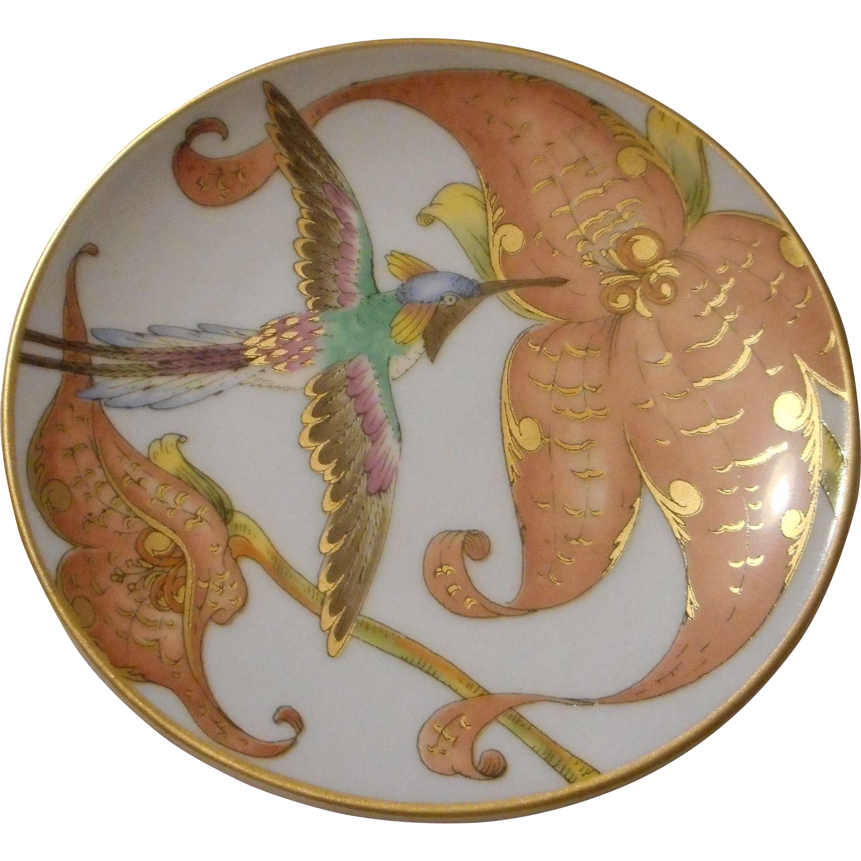 Hand Painted Plates : Vintage hand painted humming bird plate artist signed
