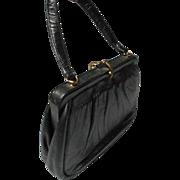 Vintage Black Leather Handbag by Etra