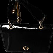 "Vintage Patent Leather Handbag, Marked ""Black"""