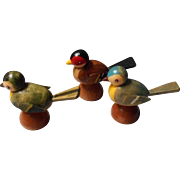 Vintage German Hand Painted Wooden Birds