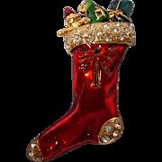 Vintage Enameled Rhinestone Christmas Brooch
