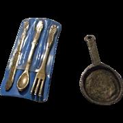 Vintage Metal Silverware and Frying Pan