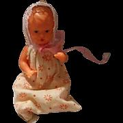 Vintage Hard Plastic Baby in Bunting