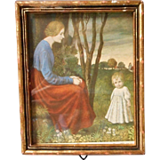 Vintage Framed Miniature Print of Mother and Child