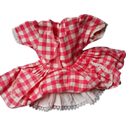 Vintage Pink Gingham Doll Dress with Attached Slip