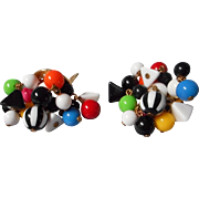 1970's Colorful Beaded Clip Earrings