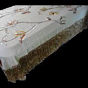 Vintage Hand Made Crewel Work Table Cloth, European