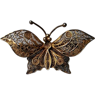 Vintage 800 Silver Filigree Butterfly Brooch