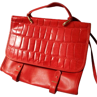 Vintage Red Leather Messenger Handbag, Italy