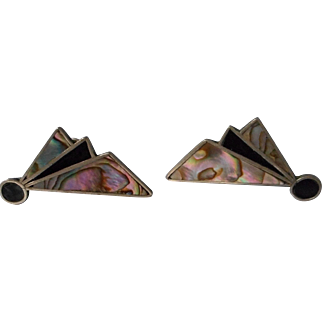 Vintage 925 Taxco Mex. Abalone Shell Earrings