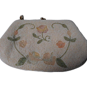 Vintage Beaded Handbag with Beaded Floral Design