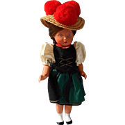 Vintage German Celluloid Doll in Original Costume