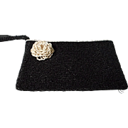 Vintage Black Beaded Clutch with Beaded Floral Rosette