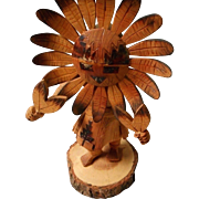 Navajo Carved Kachina, SunFace, Signed