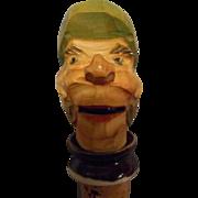 Carved Wooden Hinged Jaw Bottle Cork, Pourer