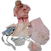"""Vintage Vogue """"Baby Ginnette"""" with Carrier and Wardrobe"""