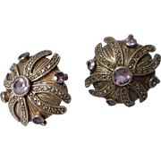 Sterling, Amethyst and Marcasite Clip Earrings